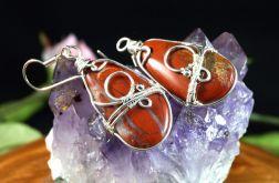 Srebrne kolczyki z jaspisem wire wrapped