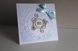 Kartka na Komunię Świętą perełki IHS niebiesk