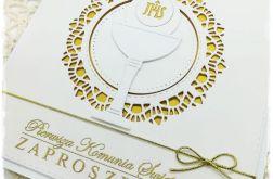 Zaproszenie na I Komunię Świętą biel i złoto