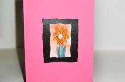 Kartka uniwersalna różowa z kwiatkiem 5