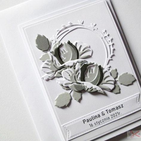 Kartka Ślubna - szare róże