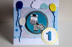 Kartka na Roczek niebieska zebra