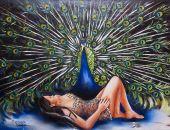 Obraz olejny kobieta paw