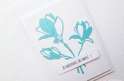 Kartka UNIWERSALNA - turkusowe kwiaty