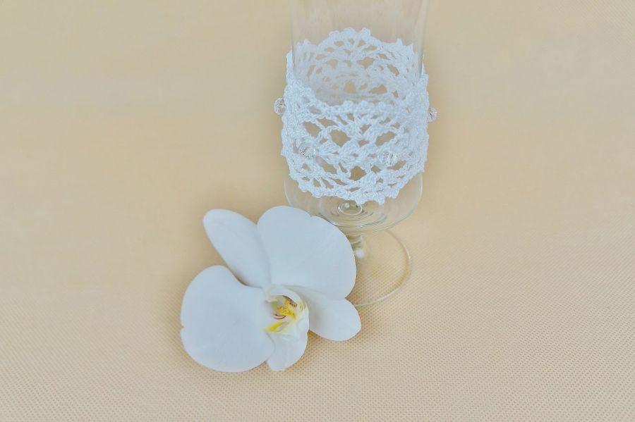Bransoletka szydełkowa biała 5 - Bransoletka ręcznie robiona