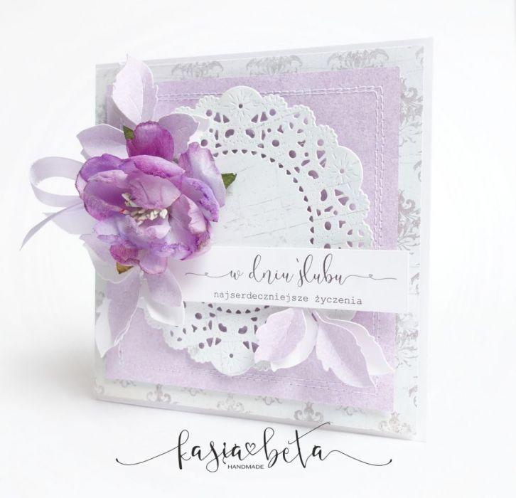 Kartka Ślubna w pudełku - fiolet/lila