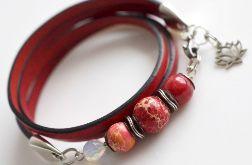 Bransoletka damska czerwona skórzana koniczynka