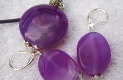 Liliowe agaty, delikatny zestaw biżuterii w srebrze