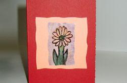 Kartka uniwersalna bordowa z kwiatkiem 3