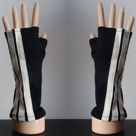 Rękawiczki mitenki czarne, lampasy