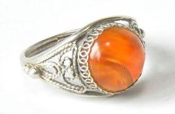 66 pierścionek vintage, srebrny z agatem