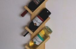 Półka z drewna na 3 butelki wina