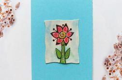 Kartka uniwersalna niebieska z kwiatkiem 1