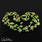 Cloisonne - zielony naszyjnik - Korale cloisonne