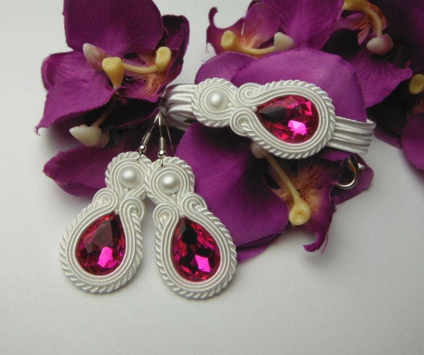 Biżuteria ślub sutasz fuksja róż różowa biała