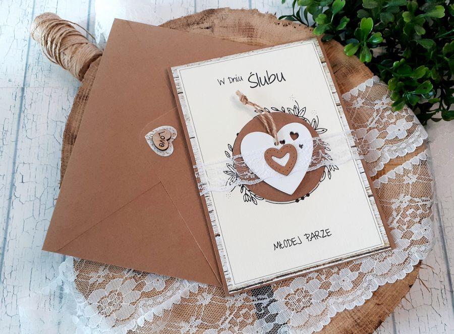 Rustykalna kartka na ślub -
