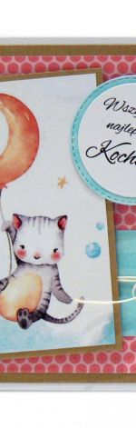 Kartka na urodziny dziecka kotek z balonikiem