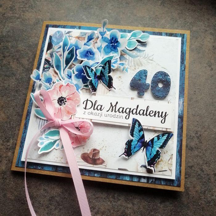 Kartka dla kobiety eko niebieska PDK 055 - Kartka dla kobiety eko niebieskie z motylkami (3)