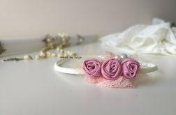 Opaska różowa ecru dla dziewczynki na chrzest