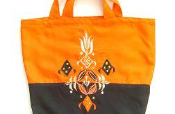 Oranżowa torba boho, eko torba haftowana