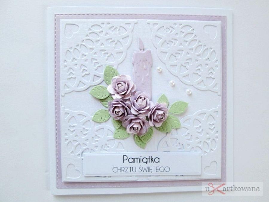 Kartka PAMIĄTKA CHRZTU ze świecą #10 - Biało-różowa kartka na Chrzest ze świecą