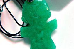 Jadeit chiński, zielony unikatowy wisiorek