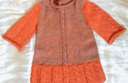 Sukienka pomarańczowo-szara