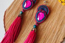 Różowo-turkusowe kolczyki z chwostami