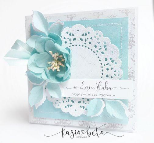 Kartka Ślubna w pudełku - mięta