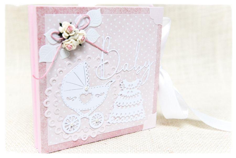 Chrzest Św. Pudełko w formie kartki Baby Girl -