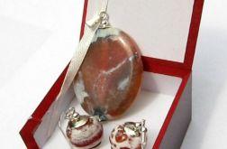 Agat ognisty, delikatny zestaw biżuterii w srebrze