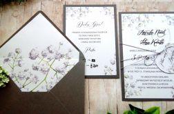 Zaproszenia ślubne jednokartkowe gipsówka