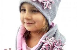 Szaro - różowy komplet dla dziewczynki
