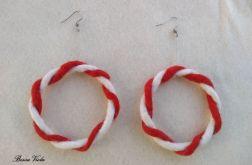 Kolczyki z filcu biało czerwone koluszka