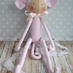 Małpka Tilda pudrowy róż przytulanka GOTOWA