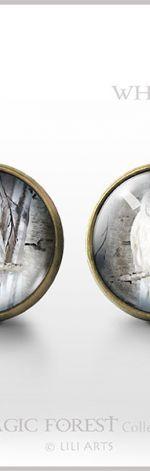 Biała sowa - antyczny brąz - kolczyki wkrętki