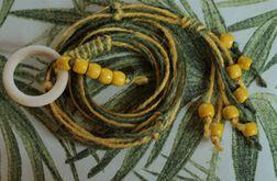 Unikatowy kwietnik makrama juta żółty zielony boho