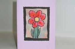 Kartka uniwersalna fioletowa z kwiatkiem 7