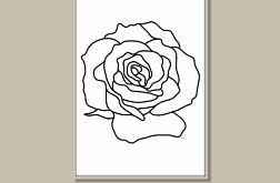 Róża grafika czarno-biała nowoczesna minimalistyczna