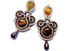 Długie Kolczyki Sutasz Tygrysie Oko i Masa Perłowa w brązie, kremie i srebrze