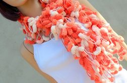 pom-pon scarf  - pomarańcz