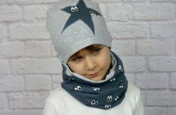 Granatowa czapka i komin dla chłopca