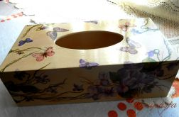 Fiołkowy chustecznik ręcznie zdobiony