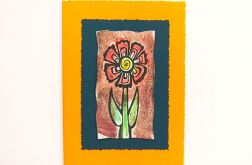 Kartka oranż z kwiatkiem nr 7