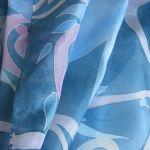 Komin jedwabny Roślinny Niebiesko-Różowy - Jedwabny komin malowany
