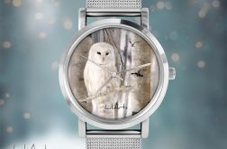 Zegarek, bransoletka - Biała sowa