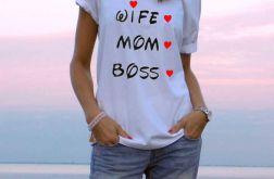 "t-shirt luźny ""WIFE, MOM, BOSS"""