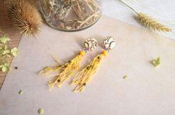 Żółte lniane kolczyki z odciskiem koronki