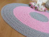 Dywan bawełniany szaroróżowy 100 cm