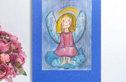 Mały aniołek  obrazek ręcznie malowany - 5